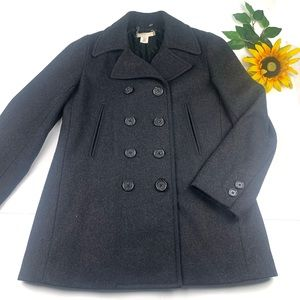 J Crew Wool Peacoat Charcoal Double Breasted coat